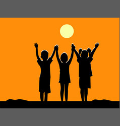 Silhouette of three children friendship at sunset vector