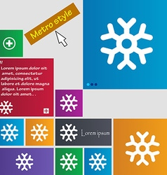 Snowflake icon sign metro style buttons modern vector