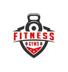sports fitness shield logo design vector image
