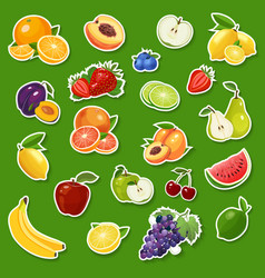 stickers with fresh natural fruits and berries vector image