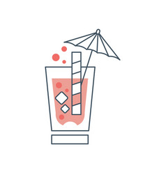 summer cocktail with cubes of ice bubbles straw vector image