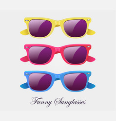 Sunglasses set wayfarer shape multicolored vector