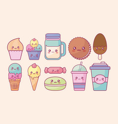 Sweet products kawaii characters vector