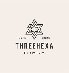 three hexagram hipster vintage logo icon vector image