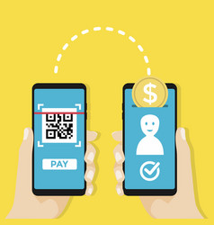 Transfer money to other people account by qr code vector