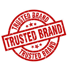 Trusted brand round red grunge stamp vector