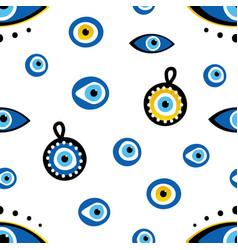 turkish blue eye-shaped amulets pattern vector image