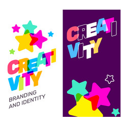 two banner with creativity broken text colored vector image