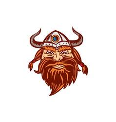 Viking Warrior Head Angry Isolated Retro vector image