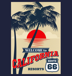 Vintage california summer poster retro t vector