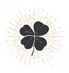 Vintage label hand drawn lucky four leaf clover vector
