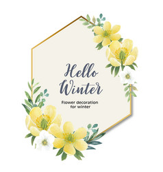 Winter bloom wreath design with anemone vector