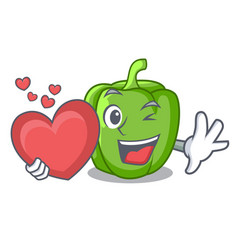 with heart cartoon fresh green pepper in the vector image