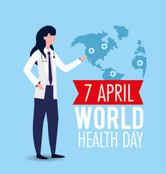Woman with stethoscope to world health day vector