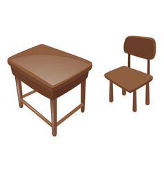 wooden desk and chair vector image
