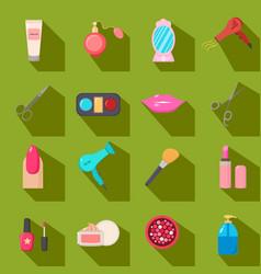 beauty salon set of cartoon icons green vector image