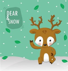 dear and white snow vector image vector image