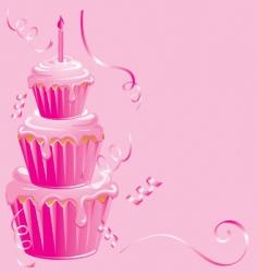 girls 1st birthday cupcake vector image vector image