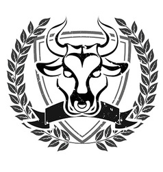 Grunge bull head emblem vector image vector image