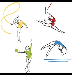 gymnastics collection vector image vector image
