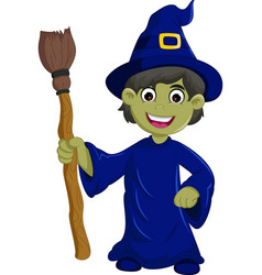 halloween ugly witch with a hat and broom vector image vector image