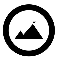 mountains with a flag on top the black color icon vector image vector image