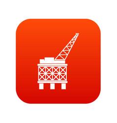 Oil platform icon digital red vector