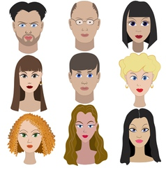 Set of portraits of people Full face vector image vector image