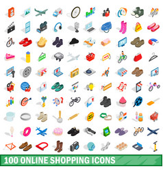 100 online shopping icons set isometric 3d style vector image