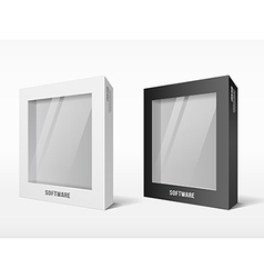 White and black box software package vector image vector image