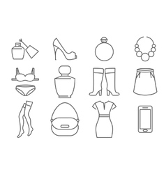Womens accessories and clothes line icons set vector image vector image