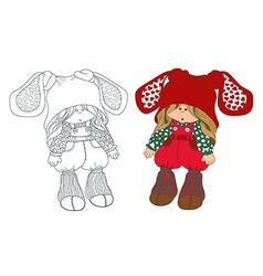 cute little girl in hat coloring vector image vector image