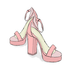 model sandals hand draw on a white background vector image vector image