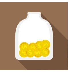 Money piggy bank icon flat style vector image vector image