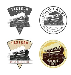 Set of vintage retro railroad steam train logos vector image vector image