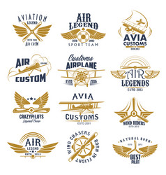 Aviation airplane legend team retro icons vector