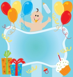 baby boy birthday invitation vector image vector image