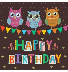 Happy Birthday greeting card with cute owls vector image vector image