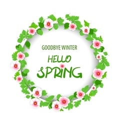 Hello spring floral pattern card vector image vector image