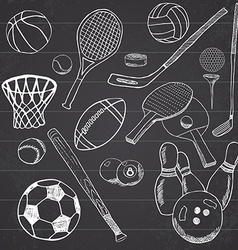 Sport balls Hand drawn sketch set with baseball vector image