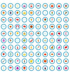 100 celebration icons set cartoon style vector image