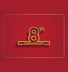 8 anniversary design with simple line style vector