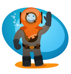 A man in an old diving suit diving and tourism vector