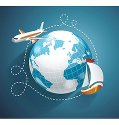 A world globe an airplane and yacht vector