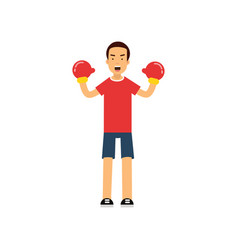 active teen boy in boxing gloves boy doing sport vector image