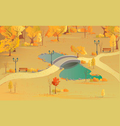 autumn landscape path in forest with a bridge vector image