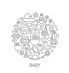 Baby kids in circle - concept line vector