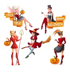 Beautiful women in Halloween costumes fairy with vector