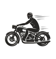 biker rides a retro motorcycle silhouette vector image