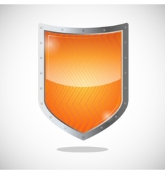 Blank orange gold shield in metallic frame vector image